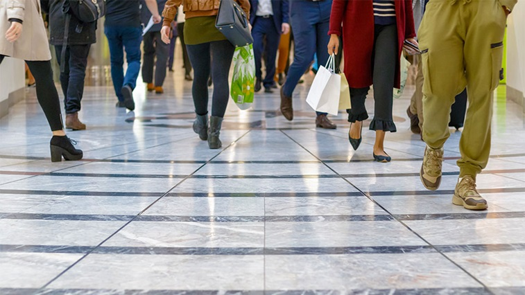 People walking inside a shopping centre