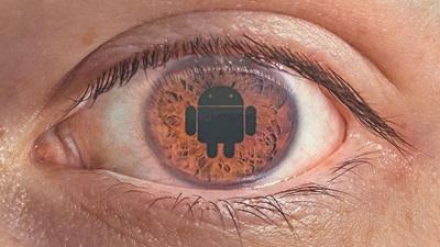 Eye with robot on