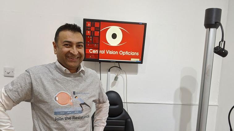 Bhavin Shah wearing myopia tshirt