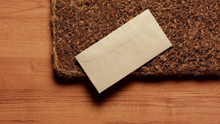 letter on doormat