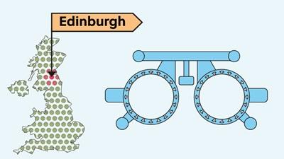 Edinburgh and UK map