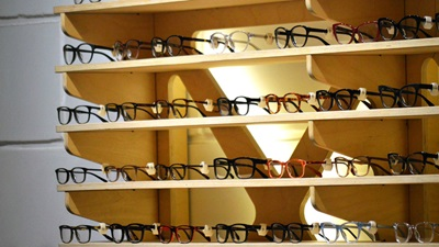 glasses on a wooden shelf