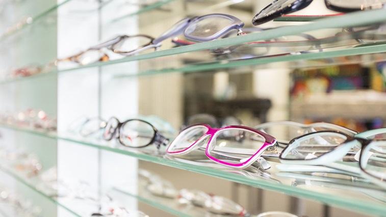 glasses on the shelves