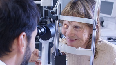 Lady having a sight test