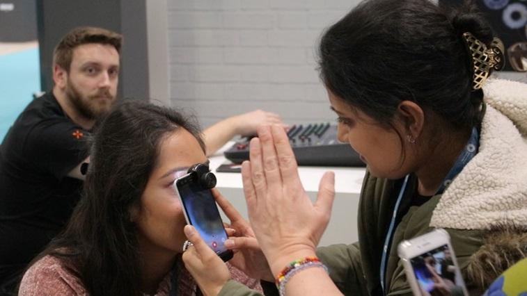 Lady using Peek Vision device