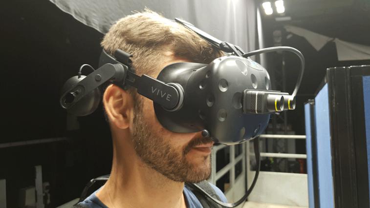 Man testing virtual reality headset