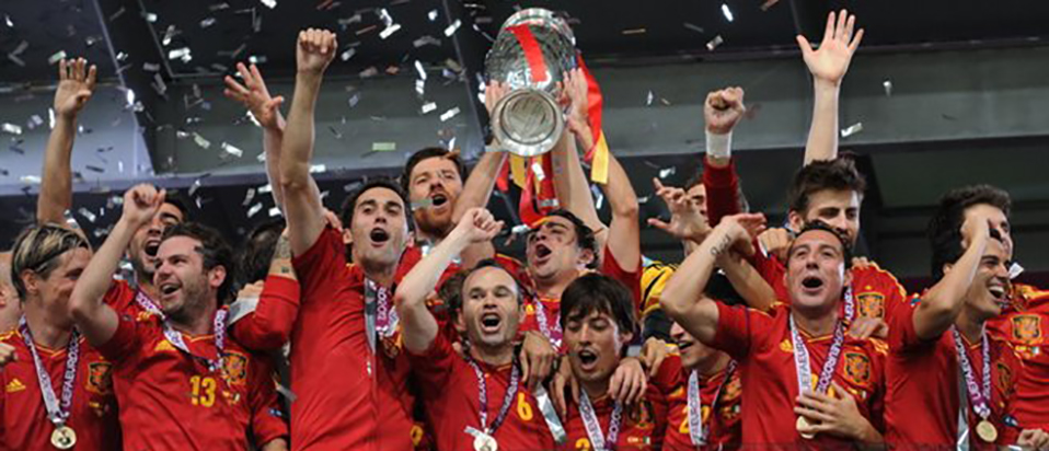 Spain winning the Euro 2012 competition