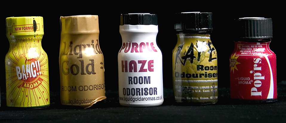 Different brands of poppers