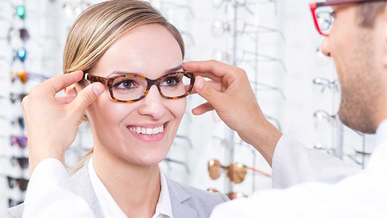 A person having a spectacles fitting