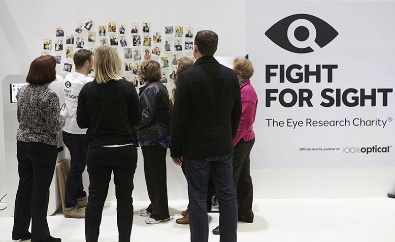 People at the Fight for Sight stand at 100 Optical 2016