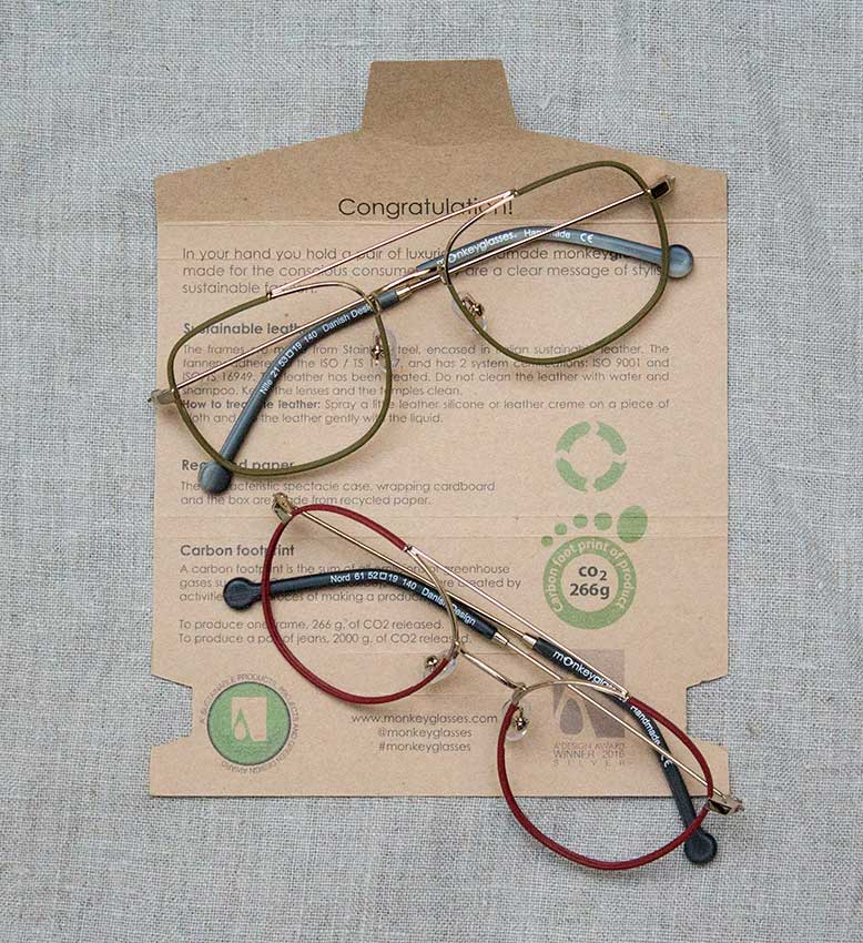 Monkey glasses spectacles and packaging