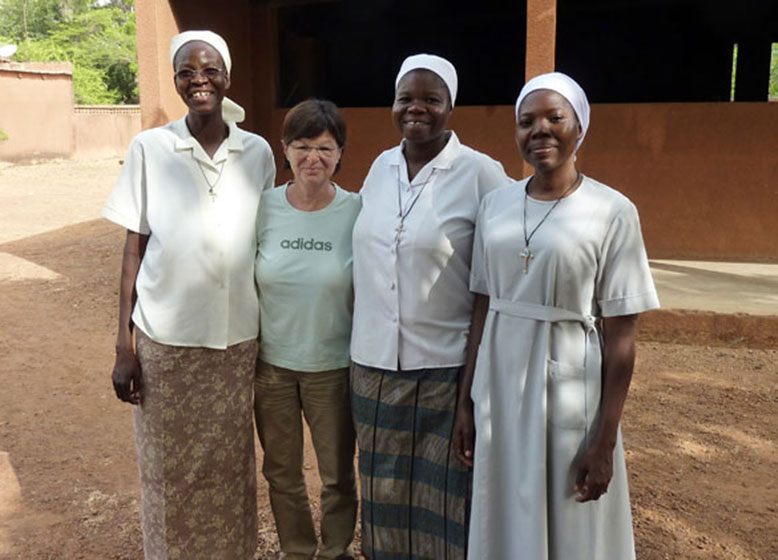 Optometrist, Bettina Hochwimmer, pictured (second from left) with the eye clinic staff in Burkino Faso