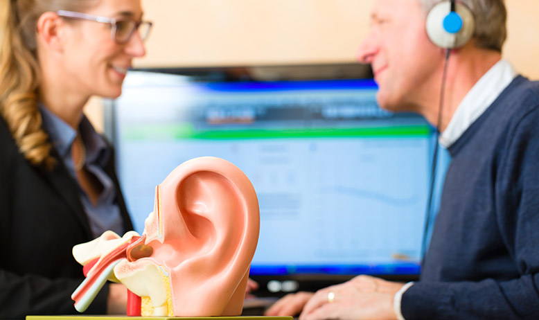 Man has his hearing tested