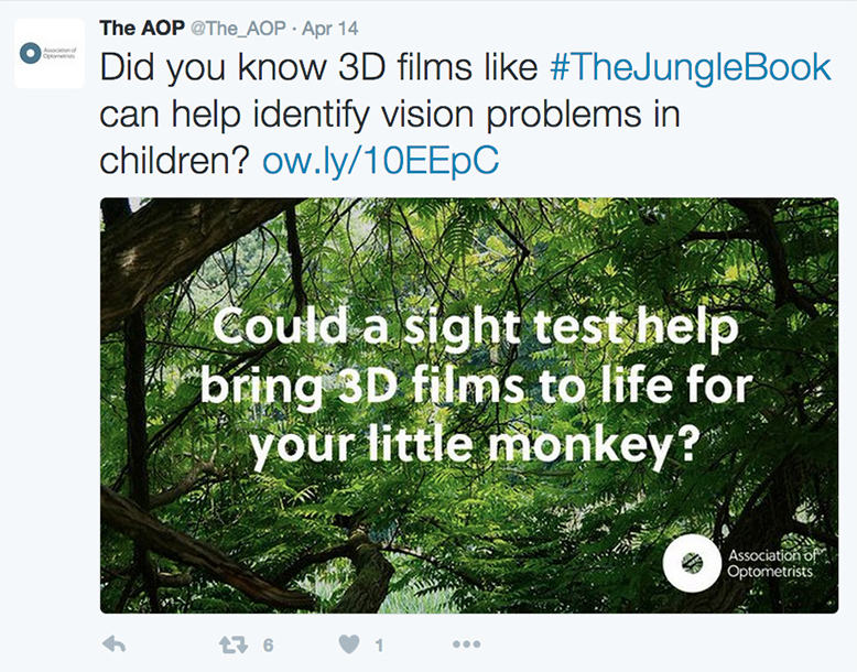 A tweet from the AOP 3D vision social media campaign