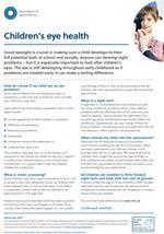 Children's eye health leaflet cover